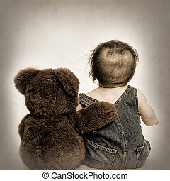 Baby and Best Friend (Toning) - Baby with back to us sitting...