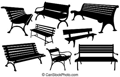 benches - set of benches isolated on white