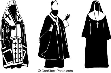 priests - silhouettes of different religious people
