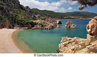 Paradise beach on Sardinia - Typical clear water and red...