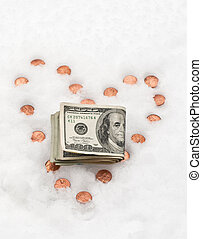 Love Cold Hard Cash - Pennies placed in the snow in the...