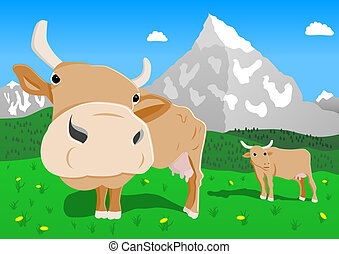 cow in the alps - illustration of cow in the alps