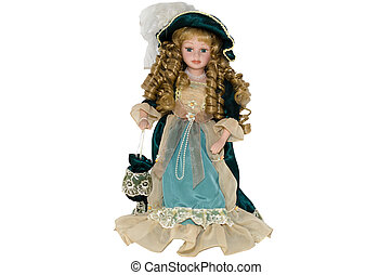 Isolate Russian doll in a beautiful dress