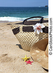 Sea and beach - Sea time - seacoast, straw beach bag and...