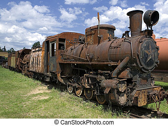 Old rusty steam locomotive in open air museum of Pereslavl,...