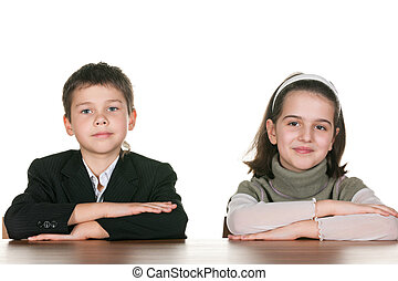 Two pupils at the desk