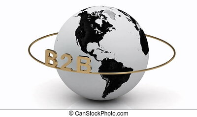 B2B on a gold ring rotates around the earth on a white...