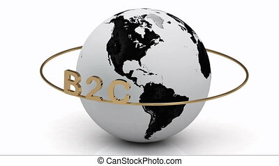 B2C on a gold ring rotates around the earth on a white...