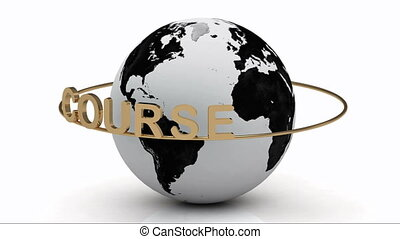 Course on a gold ring rotates around the earth on a white...