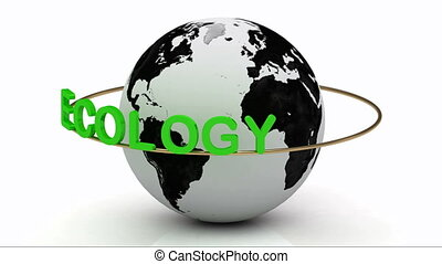 Green ecology on a gold ring rotates around the earth on a...