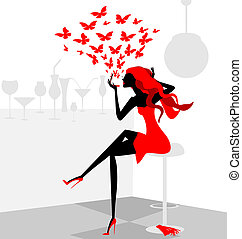 red girl - in abstract cafe is stylish girl in red dress...