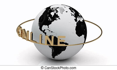 ONLINE on a gold ring rotates