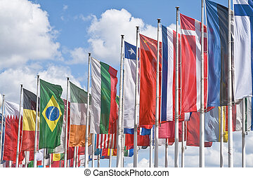 International meeting - Many national flags against a...