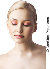 the floral makeup, she is turned of three quarters