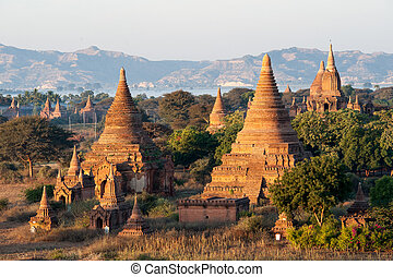 Bagan Pagodas - View from the Shwe Sandaw Pagoda during...