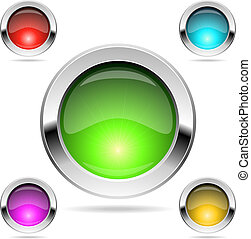 Shiny round color buttons - Shiny round color buttons with...