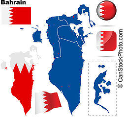 Bahrain vector set. Detailed country shape with region...