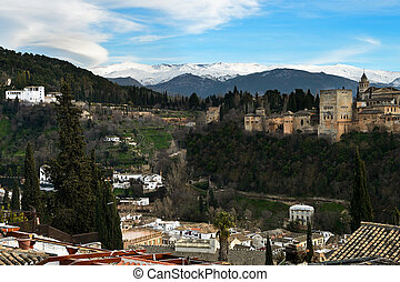Aerial view of Alhambra and snowing Sierra Nevada mountains...