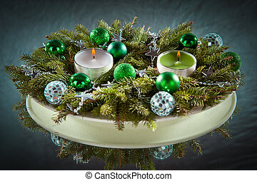 Christmas and New Year decoration- balls, tinsel, candel .On...