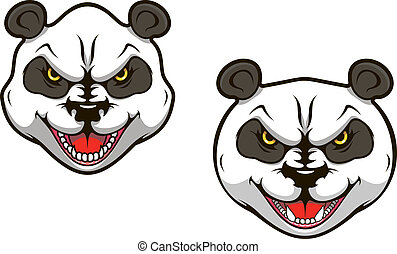 Angry panda bear head for sports mascot design