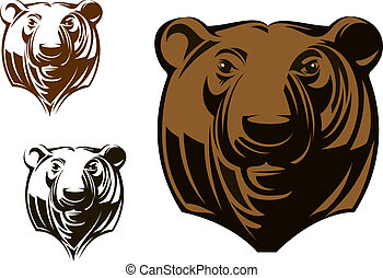 Big grizzly bear head in cartoon style for sports mascot...