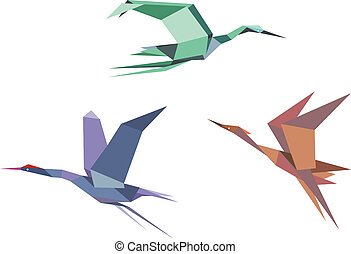 Herons, cranes and storks in origami style isolated on white...