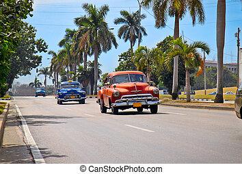 American classic cars in Havana. - American classic cars in...