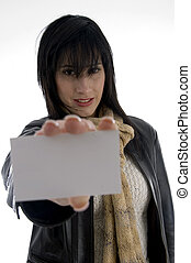 woman holding identity card with white background
