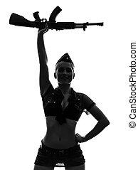 Sexy, mujer, ejército, uniforme, saludar,...