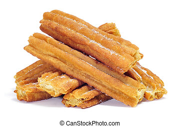 porras, thick churros typical of Spain - a pile of porras,...