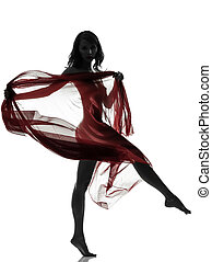 beautiful asian woman naked behind red veil silhouette - one...