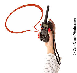 walkie-talkie in womans hand with empty text box, isolated...