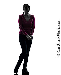 woman happy laughing full length silhouette