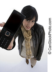 happy woman showing cell phone with white background