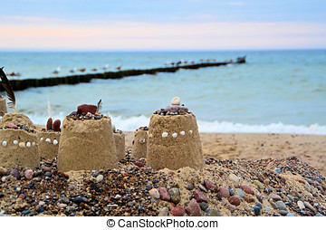 Sand castle on the beach of the Baltic Sea