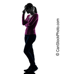 woman thinking sadness full length silhouette - one...