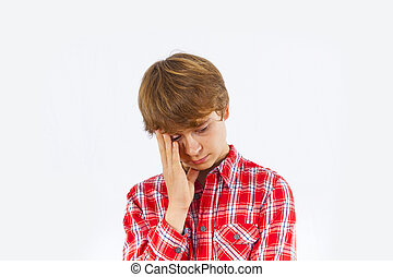 portrait of boy in sorrow