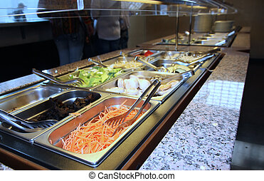 serving tray with vegetables in the Asian restaurant during...