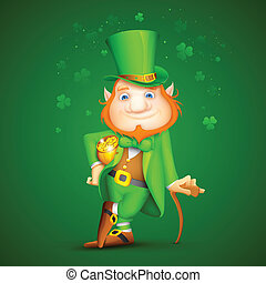 Leprachaun - illustration of Leprechaun with walking stick...