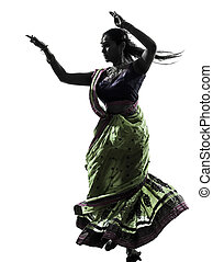 indian woman dancer dancing silhouette - one indian woman...