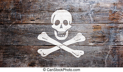 "Flag of piracy - The traditional ""Jolly Roger"" flag of..."
