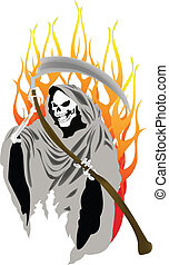 Flaming Grim Reaper Vector - Vector graphics are graphics...