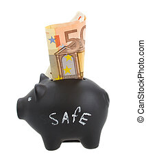 money pig with euro banknote
