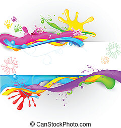 Colorful Splash in Holi Wallpaper - illustration of colorful...