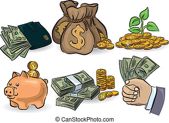 Money set - Money symbols set EPS 8