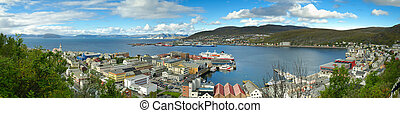 Cylindrical panorama of Hammerfest (the most northern town...