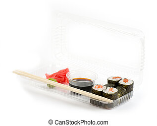 Traditional Japanese food Sushi Sushi collection in plastic...