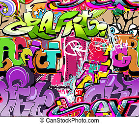 Graffiti wall. Urban art vector background. Seamless hip hop...