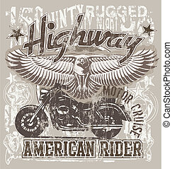American highways rider - illustration for shirt printed and...