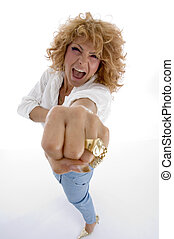 shouting woman showing you punch on an isolated white...